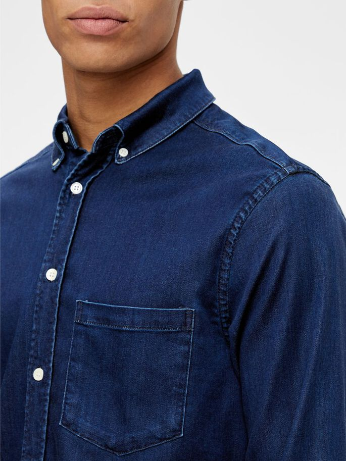 INDIGO SOFT STRETCH SLIM FIT HEMD, Mid Blue, large