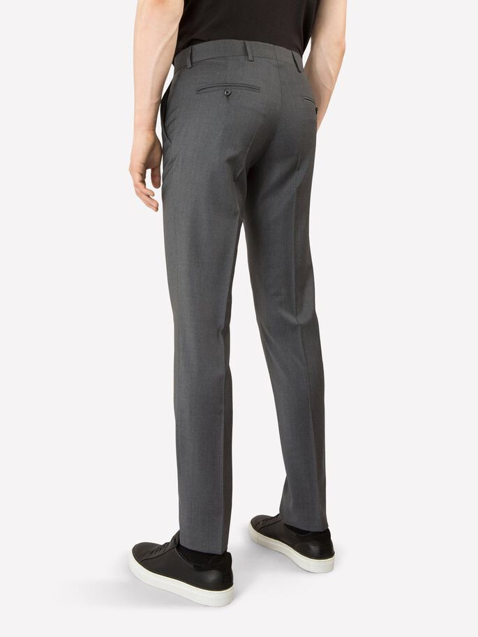 PAULIE COMFORT WOOL SUIT TROUSERS, Grey Melange, large