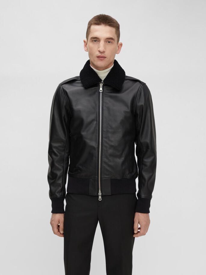 TARREL LEATHER JACKET, Black, large