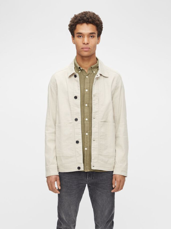 ERIC COTTON LINEN OVERSHIRT, Sand Grey, large