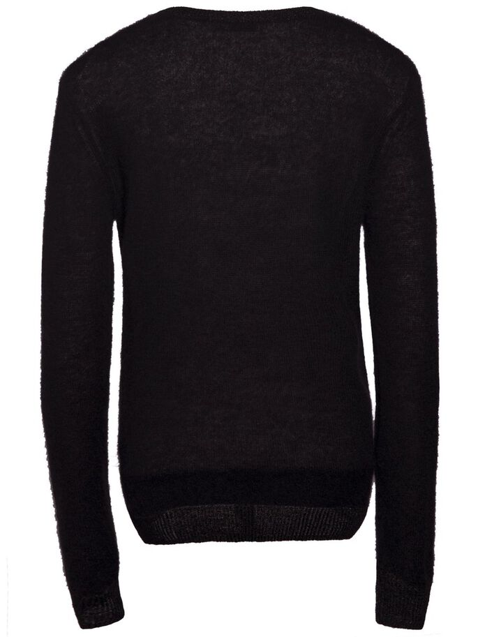 MAJLO TRANSPARENT KNIT KNITTED PULLOVER, Black, large