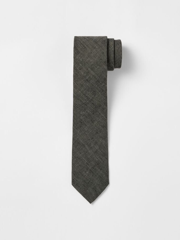 LALLE LINEN TIE, Hunter Green, large