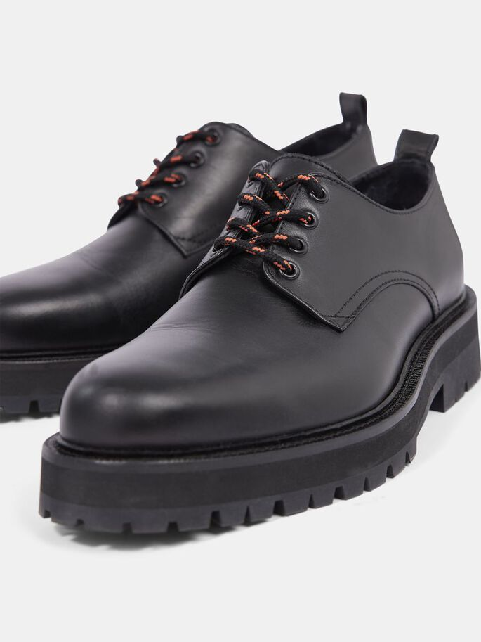 LEATHER CHAUSSURES DERBY, Black, large