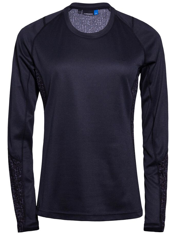 ACTIVE LONG-SLEEVED ELEMENTS JERSEY T-SHIRT, Black Melange, large