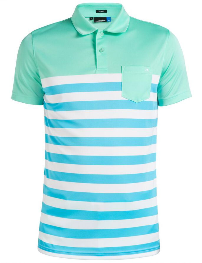 CARL SLIM TX JERSEY POLO SHIRT, Mint, large