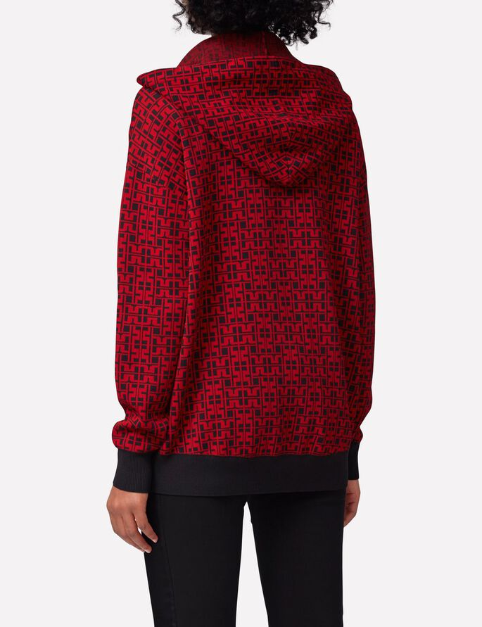 MINCHA JL JACQUARD SWEAT À CAPUCHE, Red Deep, large