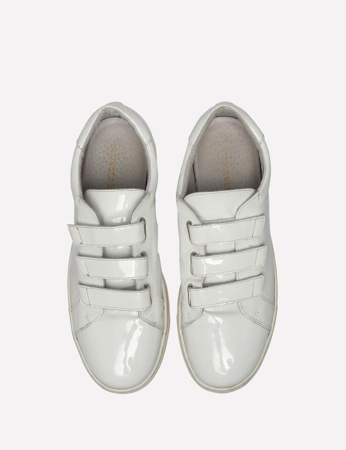 VELCRO PATENT LEATHER SNEAKERS, White, large