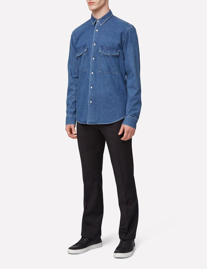 DAVID GRAIN DENIMSKJORTE, Mid Blue, large