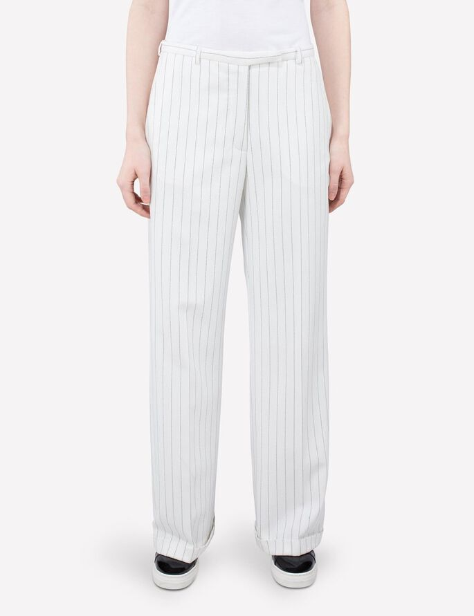 KORI FAB PINSTRIPE SUIT TROUSERS, Off White, large