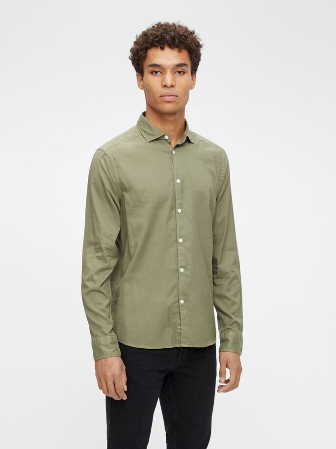 AIRY OXFORD SLIM FIT SHIRT, Lake Green, large