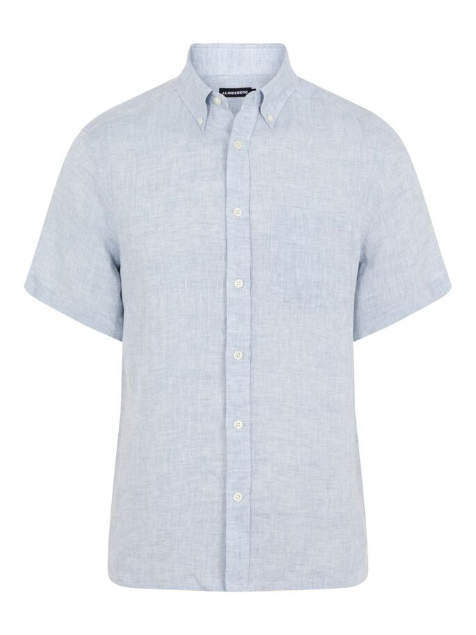 LINEN MELANGE SLIM FIT SHIRT, Steel Blue, large