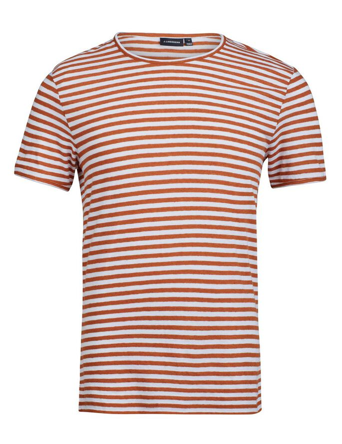 SEV SLIT STRIPE LINEN T-SHIRT, Rust, large
