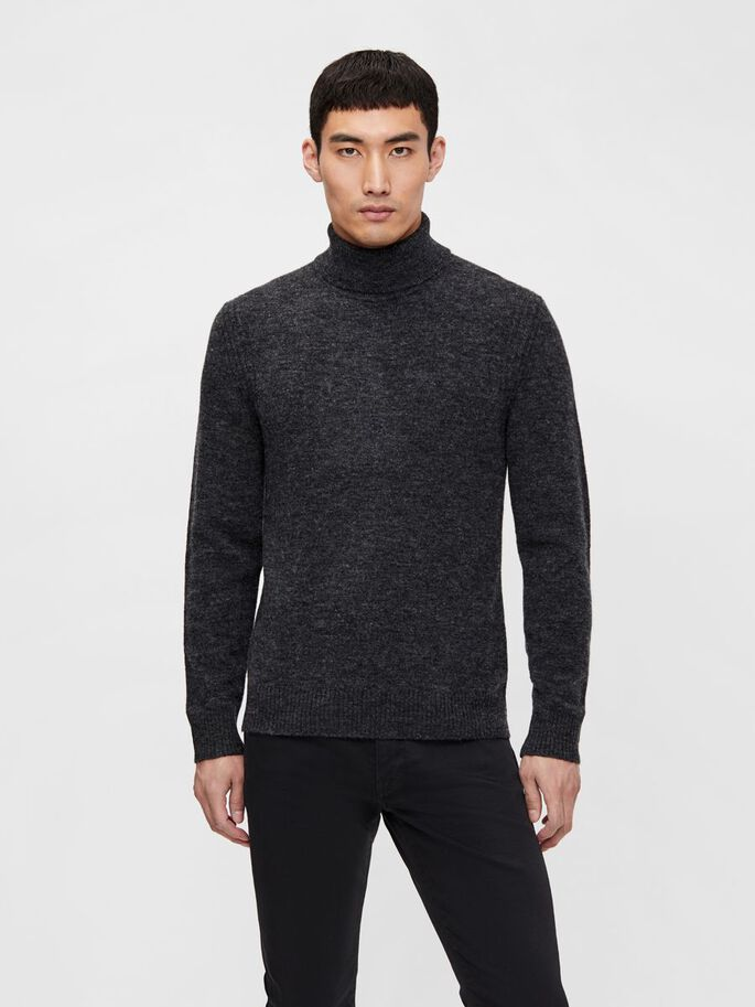 IVO TURTLENECK, Dark Grey Melange, large