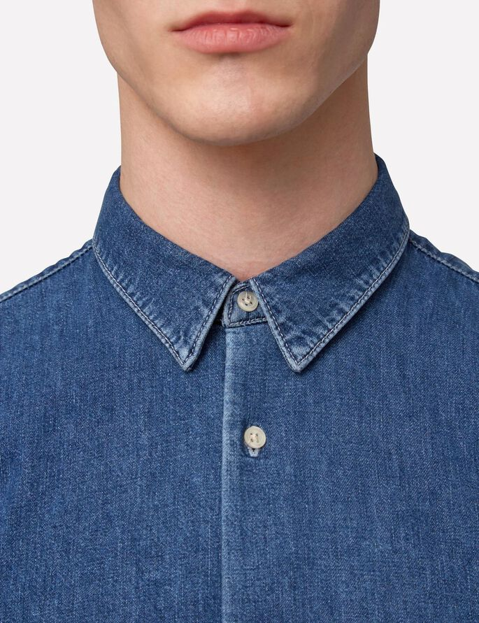 DAVID GRAIN CHEMISE EN JEAN, Mid Blue, large