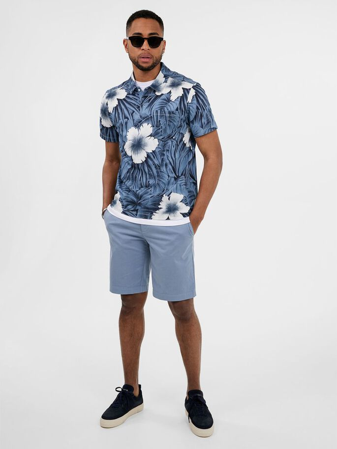 BRAND PRINTED POLO SHIRT, Steel Blue, large