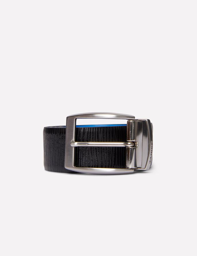 ASHER REVERSED STRUCTURE LEATHER BELT, Strong Blue, large