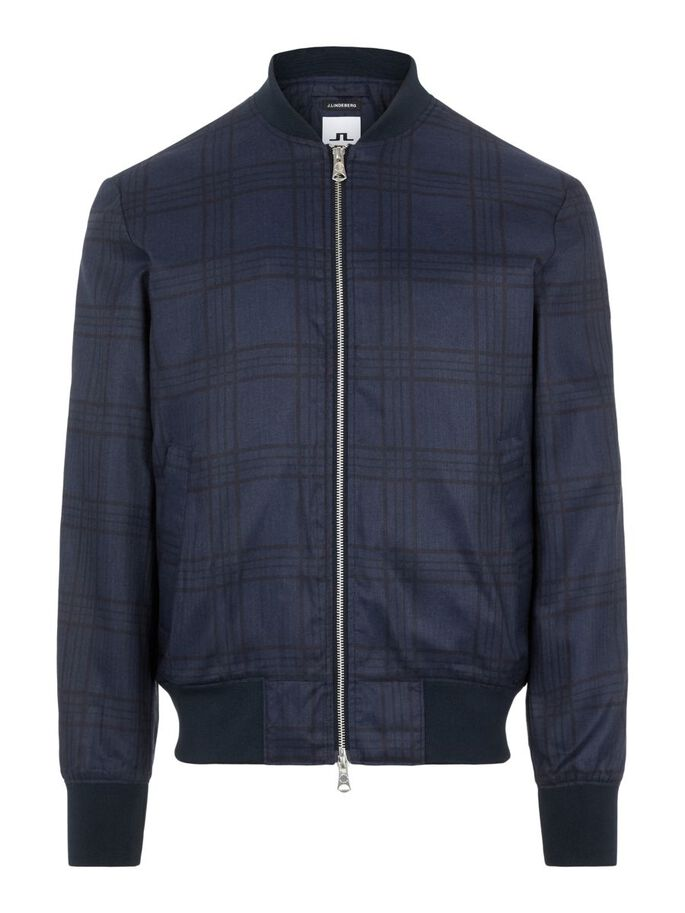 THOM TARTAN CHECK BOMBER JACKET, JL Navy, large