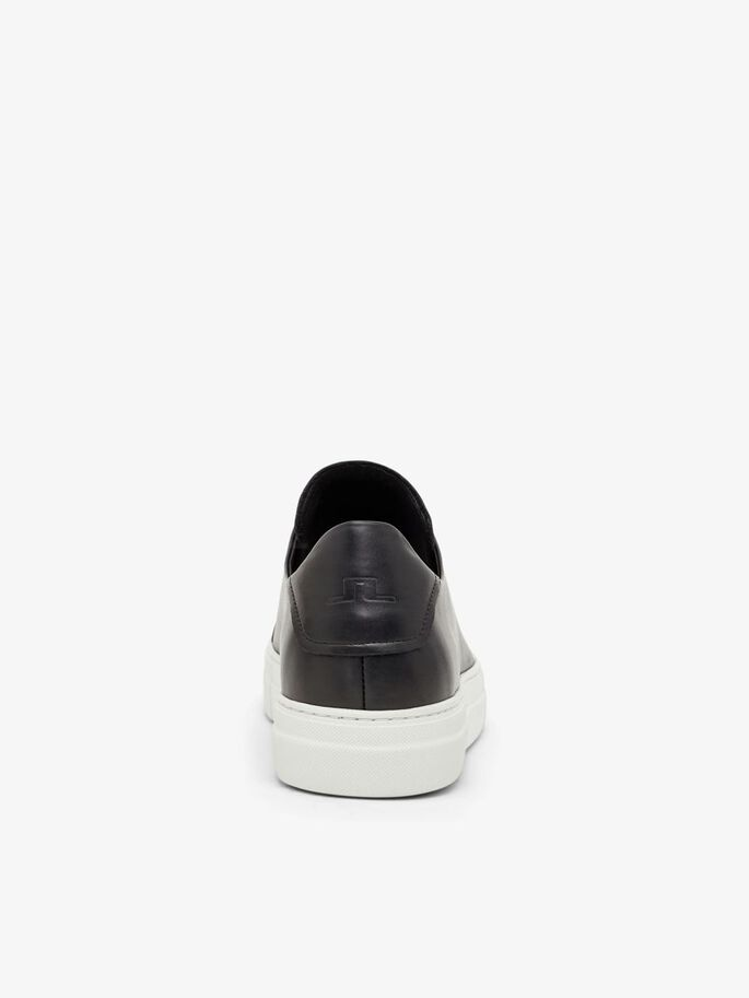 SIGNATURE LEATHER SNEAKERS, Black, large