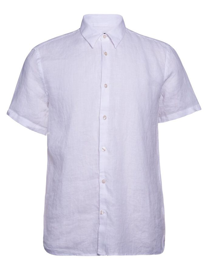 DANIEL LINEN MELANGE SHORT SLEEVED SHIRT, Off White, large