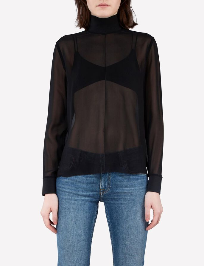 HEIDI CHIFFON BLOUSE, Black, large