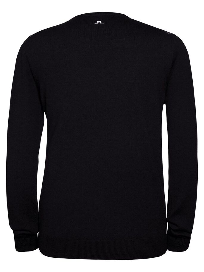 ARGYLE V-NECK TRUE MERINO KNITTED PULLOVER, Black Diamond, large