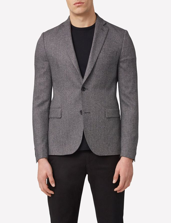 HOPPER SOFT HERRINGBONE BLAZER, Grey Melange, large