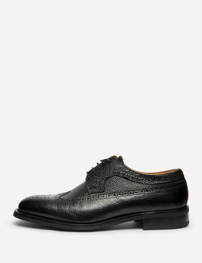 ENG BROGUE ITALIAN GRAIN SHOES, Black, large