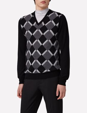 ARGYLE V-NECK TRUE MERINO KNITTED PULLOVER