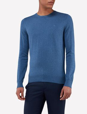MIKAEL C-NECK COTTON CREPE KNITTED PULLOVER