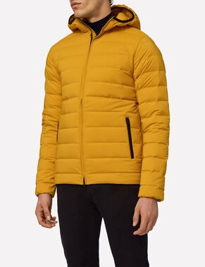 DOWN HOOD CHANNELED NYLON DOWN JACKET