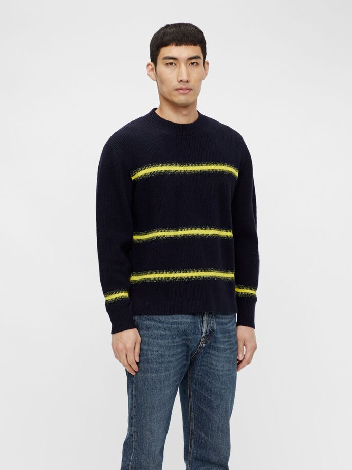 CYRUS STRIPED PULLOVER, JL Navy, large