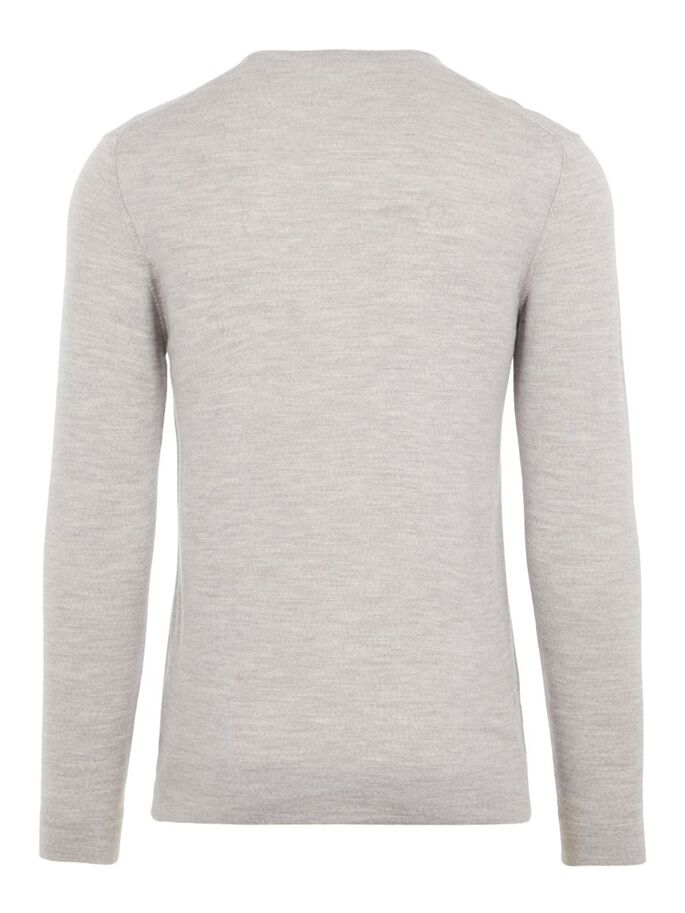 NEWMAN MERINO SWEATER, Stone Grey Melange, large