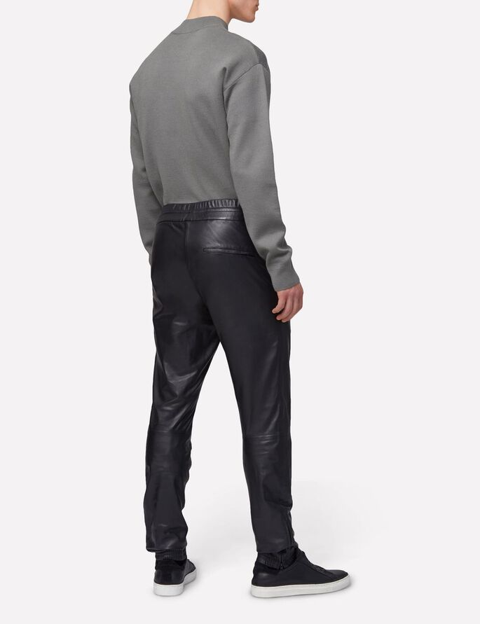 BROKEN TRACK LIGHT LEATHER PANTS, Black, large