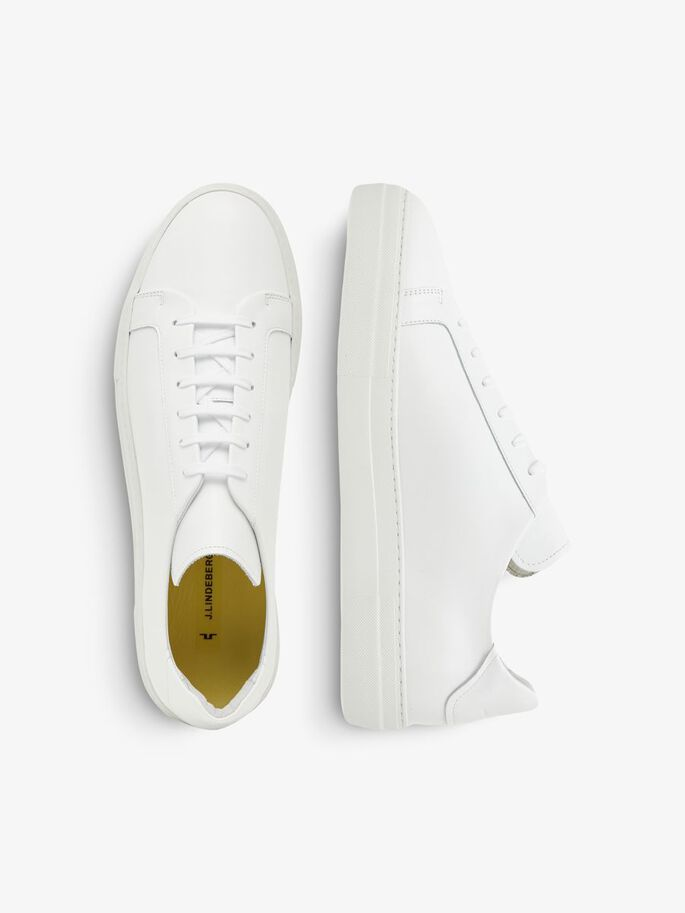 SIGNATURE LEATHER SNEAKERS, White, large