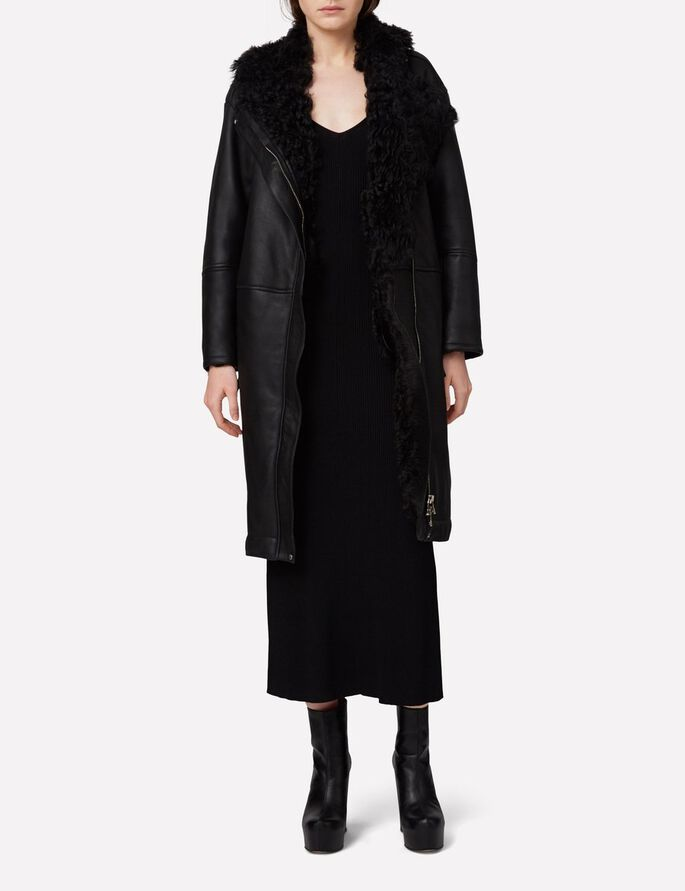 MILLICENT DRAPÉE MAILLE ROBE, Black, large