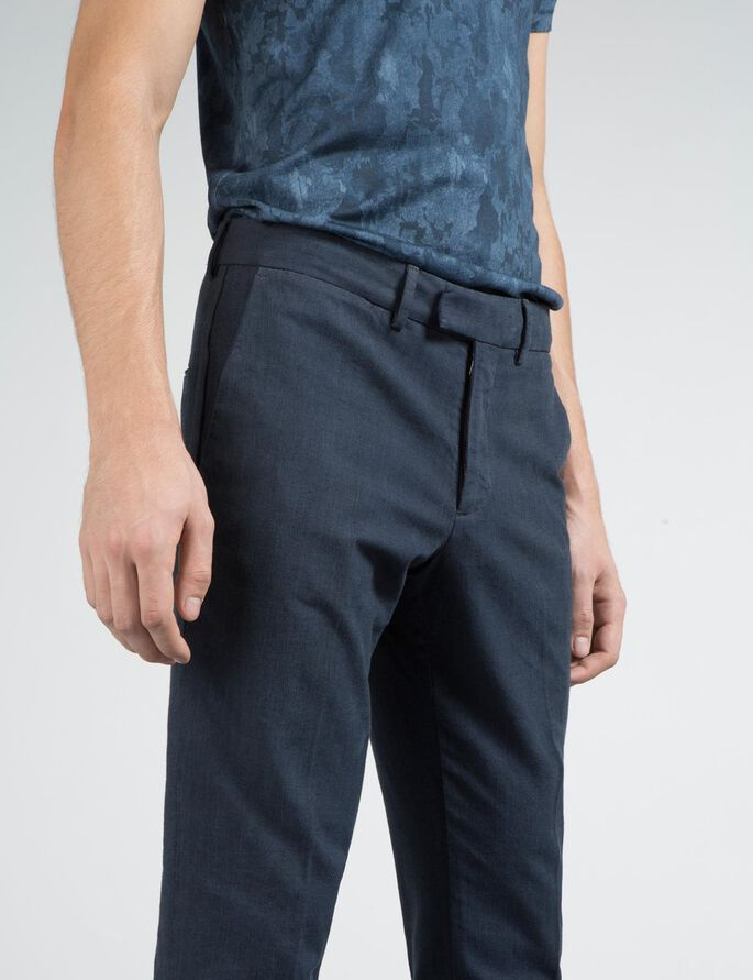 GRANT SLUB STRUCTURE TROUSERS, Mid Blue, large