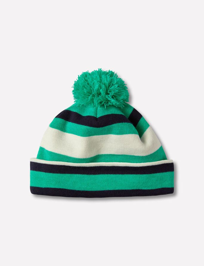 STRIPE GOLF BEANIE, Dk Green/Blue Melange, large