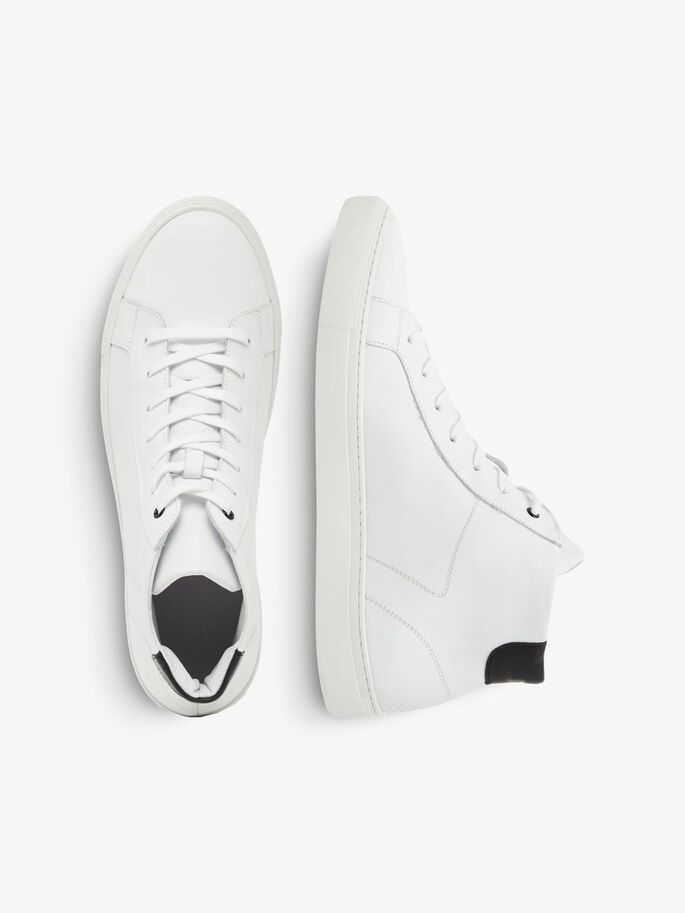 HIGHTOP LEATHER SNEAKERS, White, large