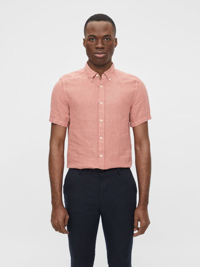 LINNEN SLIM FIT OVERHEMD, Rose Coppar, large