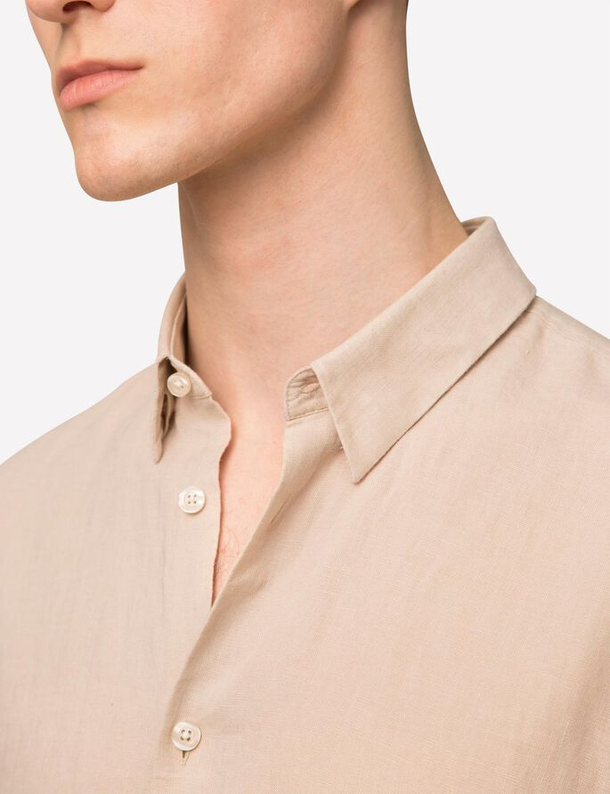 DANIEL LINEN MELANGE SHIRT, Pale Powder, large