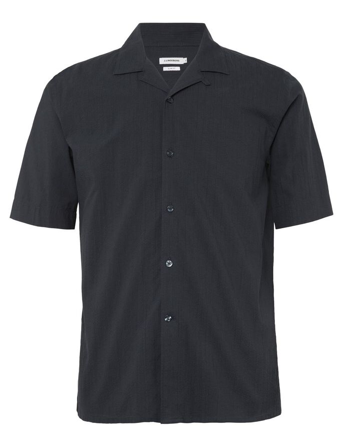 DAVID SEERSUCKER STRIPE SHORT SLEEVED SHIRT, Navy, large