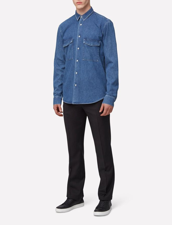 DAVID GRAIN JEANSHEMD, Mid Blue, large