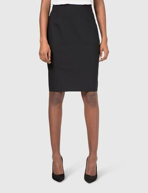 LOUISA STRETCH DRESSED WOOL PENCIL SKIRT