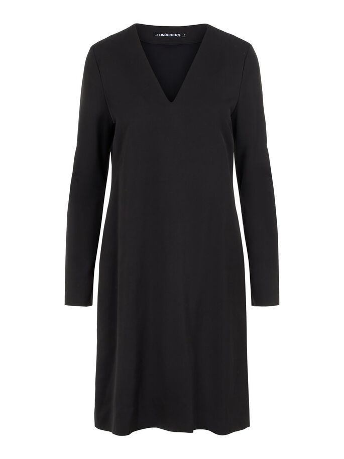 CLEMENTINE V-NECK MIDI KLEID, Black, large