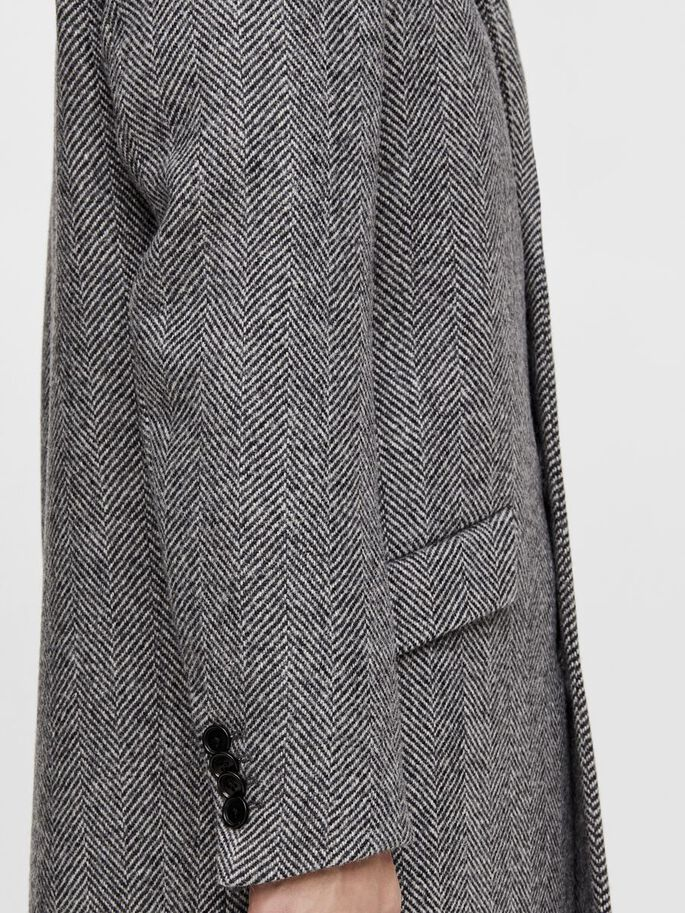 WILLEM HERRINGBONE WOOL COAT, Granite, large
