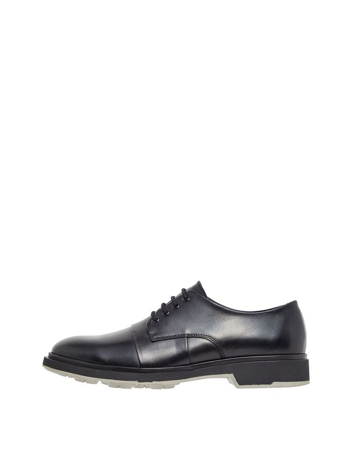 OLIVER LEATHER DERBY SHOES, Black, large