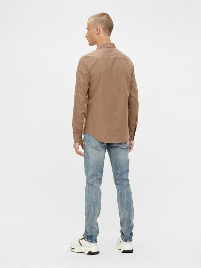 LIGHT FLANNEL SLIM SHIRT, Camel Brown, large