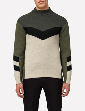 ARROW HAIRY INTARSIA KNITTED PULLOVER