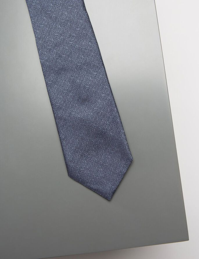 LALLE STRUCTURE SILK TIE, Mid Blue, large