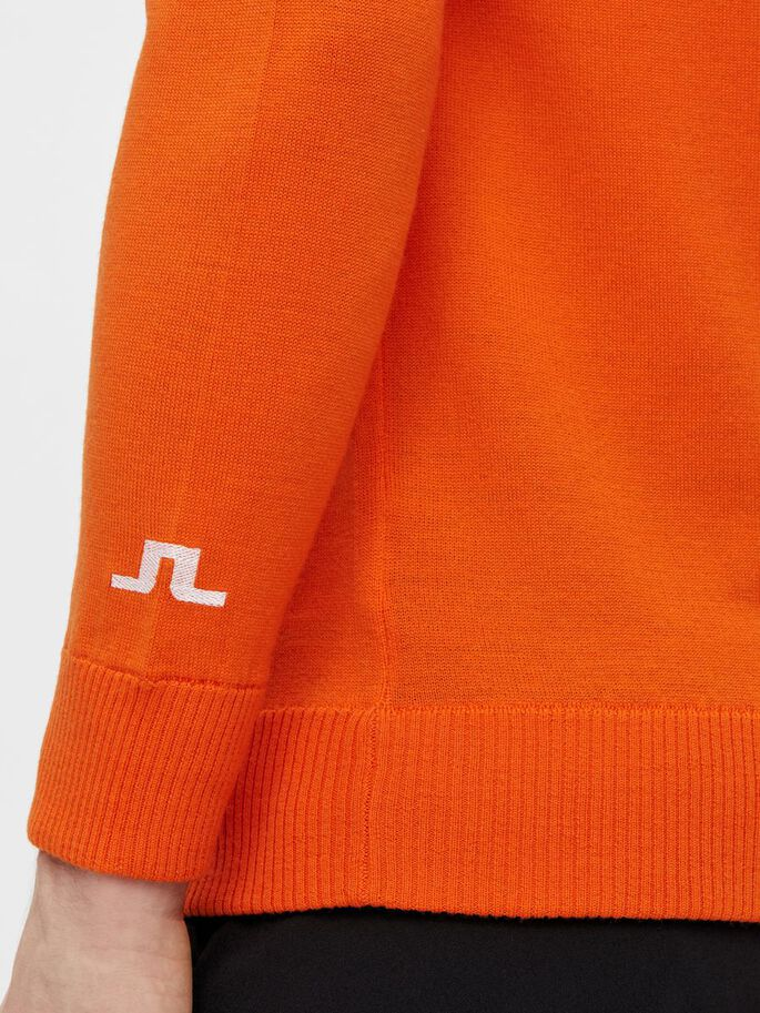 KIAN ZIPPED SWEATER, Lava Orange, large
